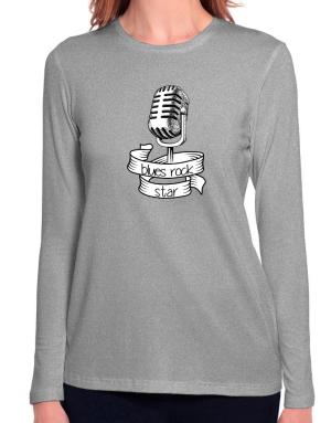 Blues Rock star Long Sleeve T-Shirt-Womens