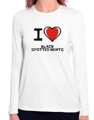 I Love Black Spotted Newts Long Sleeve T-Shirt-Womens
