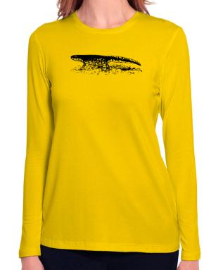 Black Spotted Newt sketch Long Sleeve T-Shirt-Womens