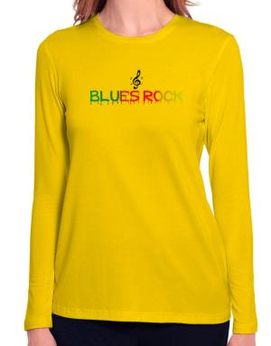 Dripping Blues Rock Long Sleeve T-Shirt-Womens