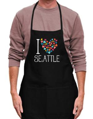 I love Seattle colorful hearts Apron