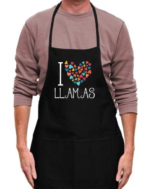 I love Llamas colorful hearts Apron