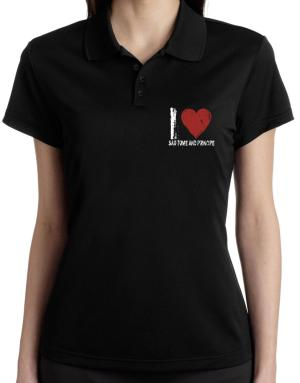 I Love Sao Tome And Principe - Vintage Polo Shirt-Womens