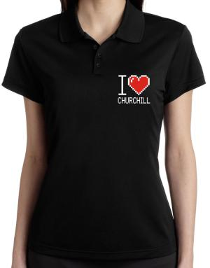 I love Churchill pixelated Polo Shirt-Womens