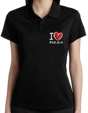I love Pizza chalk style Polo Shirt-Womens