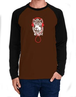 Raglan Manga Larga de Llama with headphones