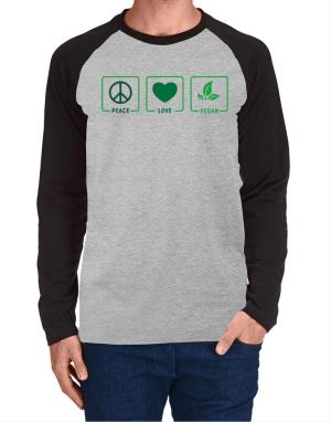 Peace love vegan Long-sleeve Raglan T-Shirt