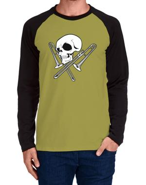 Skull and Trombone Long-sleeve Raglan T-Shirt
