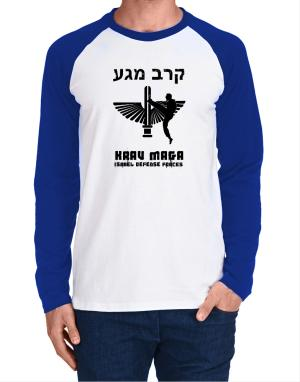 Krav Maga Hebrew Long-sleeve Raglan T-Shirt
