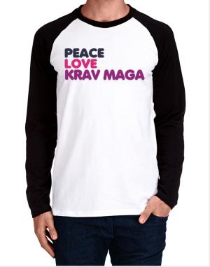 Raglan Manga Larga de Peace , Love And Krav Maga