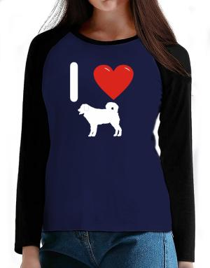 I love Wetterhoun Silhouette T-Shirt - Raglan Long Sleeve-Womens