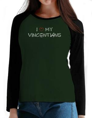 I love my Vincentians T-Shirt - Raglan Long Sleeve-Womens