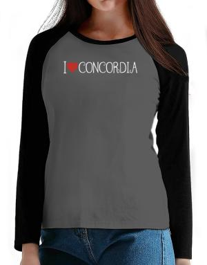 I love Concordia cool style T-Shirt - Raglan Long Sleeve-Womens
