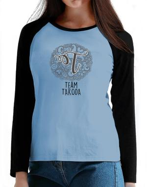 Team Takoda initial 2 T-Shirt - Raglan Long Sleeve-Womens