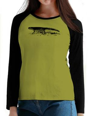 Black Spotted Newt sketch T-Shirt - Raglan Long Sleeve-Womens