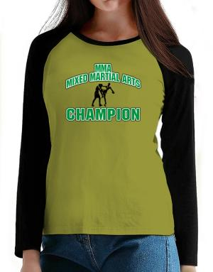 MMA Mixed Martial Arts champion T-Shirt - Raglan Long Sleeve-Womens