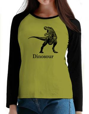 Dinosour silhouette T-Shirt - Raglan Long Sleeve-Womens