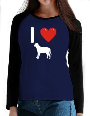 I love Broholmer Silhouette T-Shirt - Raglan Long Sleeve-Womens