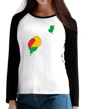 Sao Tome And Principe - Country Map Color Simple T-Shirt - Raglan Long Sleeve-Womens