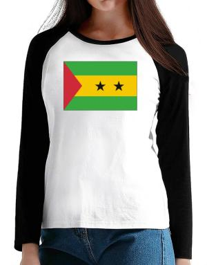 Sao Tome And Principe Flag T-Shirt - Raglan Long Sleeve-Womens