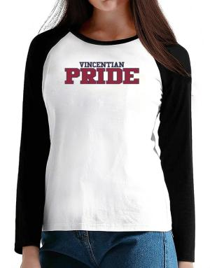 Vincentian Pride Embroidery T-Shirt - Raglan Long Sleeve-Womens