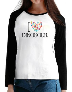 I love Dinosour colorful hearts T-Shirt - Raglan Long Sleeve-Womens
