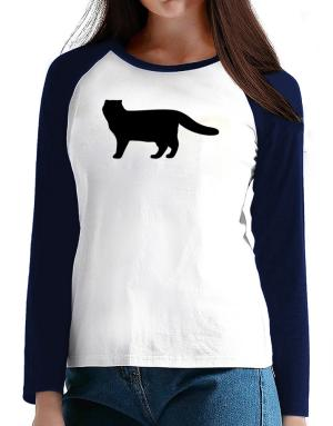 Scottish Fold silhouette T-Shirt - Raglan Long Sleeve-Womens