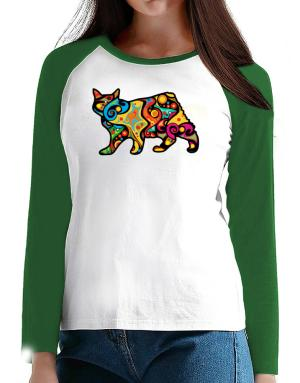 Psychedelic Manx T-Shirt - Raglan Long Sleeve-Womens