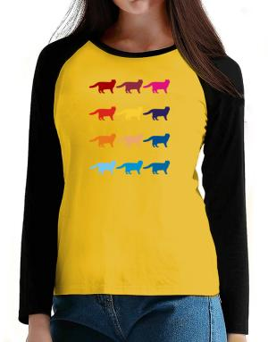 Colorful Scottish Fold T-Shirt - Raglan Long Sleeve-Womens