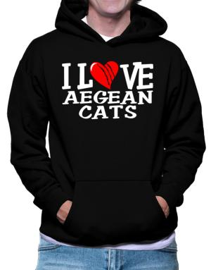 I Love Aegean Cats - Scratched Heart Hoodie