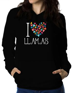 Polera Con Capucha de I love Llamas colorful hearts