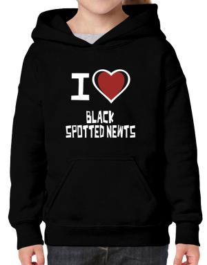 I Love Black Spotted Newts Hoodie-Girls