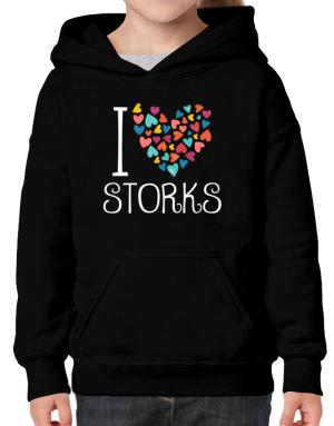 I love Storks colorful hearts Hoodie-Girls