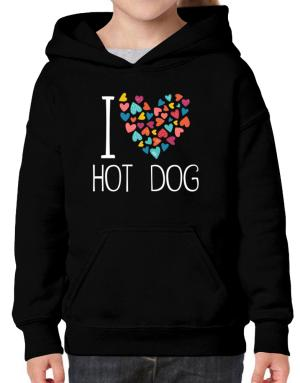 I love Hot Dog colorful hearts Hoodie-Girls