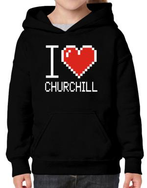 I love Churchill pixelated Hoodie-Girls