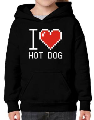 I love Hot Dog pixelated Hoodie-Girls