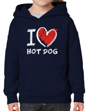 I love Hot Dog chalk style Hoodie-Girls