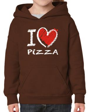 I love Pizza chalk style Hoodie-Girls