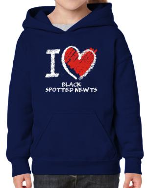 I love Black Spotted Newts chalk style Hoodie-Girls