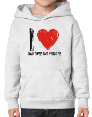 I Love Sao Tome And Principe - Vintage Hoodie-Girls