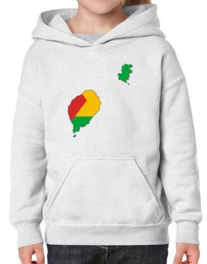 Sao Tome And Principe - Country Map Color Simple Hoodie-Girls