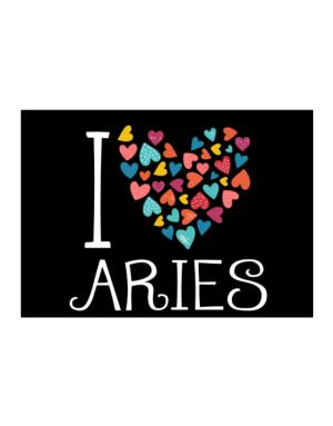 I love Aries colorful hearts Sticker
