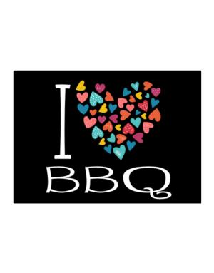 I love BBQ colorful hearts Sticker