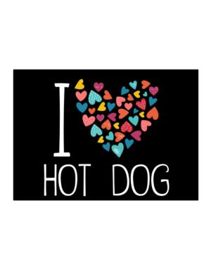 I love Hot Dog colorful hearts Sticker