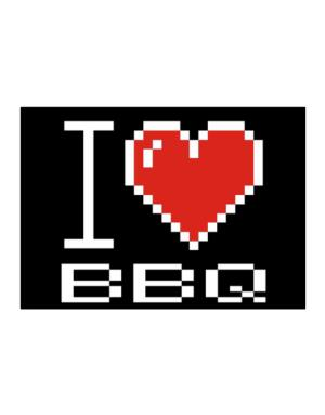I love BBQ pixelated Sticker