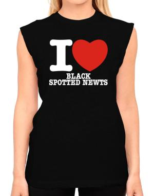 I Love Black Spotted Newts T-Shirt - Sleeveless-Womens