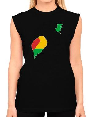 Sao Tome And Principe - Country Map Color Simple T-Shirt - Sleeveless-Womens