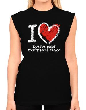 I love Rapa Nui Mythology chalk style T-Shirt - Sleeveless-Womens