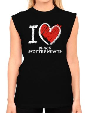I love Black Spotted Newts chalk style T-Shirt - Sleeveless-Womens