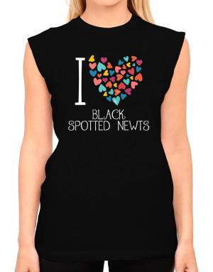 I love Black Spotted Newts colorful hearts T-Shirt - Sleeveless-Womens